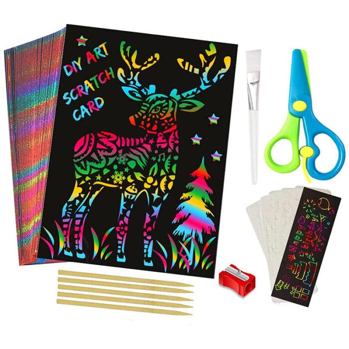 "Otroci se naučijo slikati ""Scratch Art"", Popoln kombiniran komplet 70. kosov"