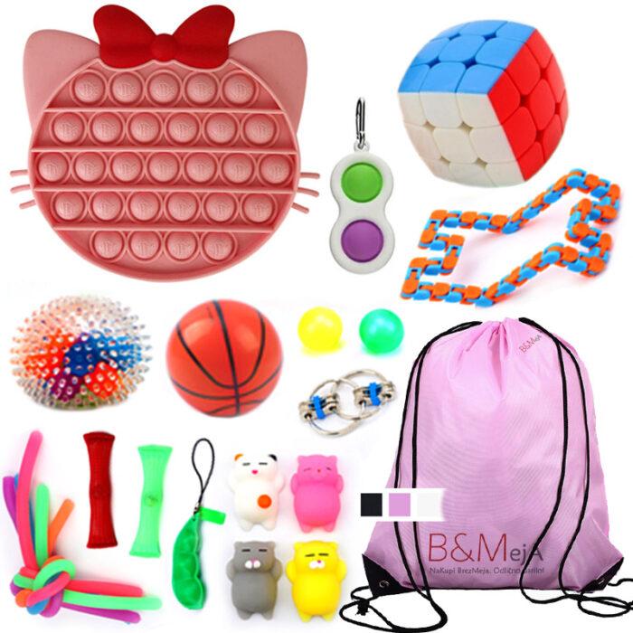 Fidget Toys SET 4, Zabavne antistresne igrače za otroke & nahrbtnik