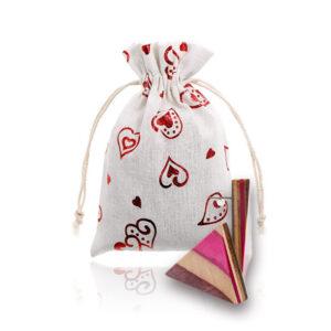 Čudovito darilo, uhani lužen javor, Kolekcija 7 & Vrečka lan s srčeki