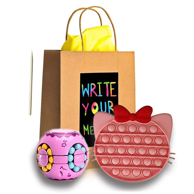 "Odlično darilo za otroka Colorful Figet Cube & ""Scratch Art"" darilna vrečka"