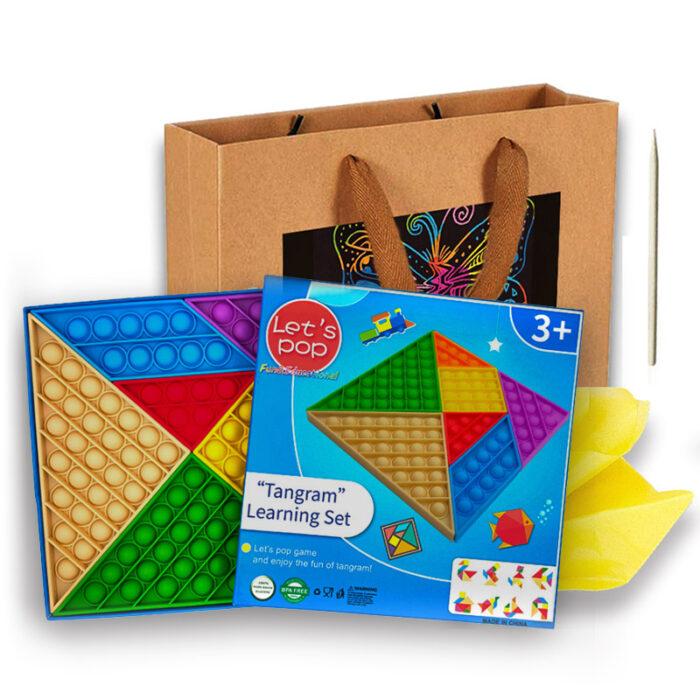 "Odlično darilo za otroka SET 7 Pop It-ov Tangram & ""Scratch Art"" darilna vrečka"